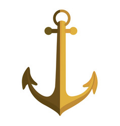 gold silhouette of anchor icon design with half vector image vector image