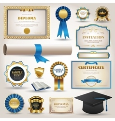 Graduation and certificate diploma elements vector image