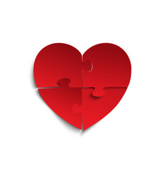 jigsaw puzzle pieces in form of red heart vector image