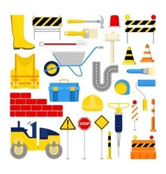 Road Construction Works Icons Set vector image