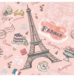 Seamless pattern on paris from the romantic vector