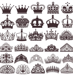 set of silhouettes of vintage crown vector image vector image