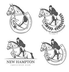Set of vintage equestrian labels and badges vector image vector image