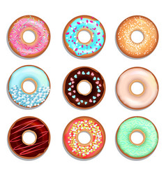 donuts with cream and chocolate vector image vector image