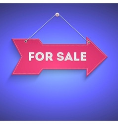 For sale bright arrow hanging on the wall vector image vector image
