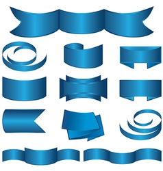 set of blue ribbon and stickers vector image