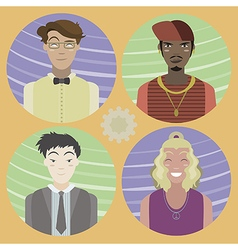 Set of four cartoon avatars - men 02 vector image vector image