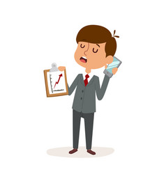 boy businessman cartoon character person on white vector image
