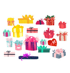colorful gift packages set - lots of present boxes vector image
