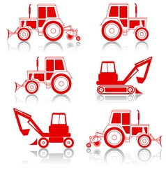 Excavator and bulldozers vector