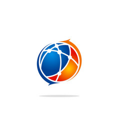 globe sphere technology science arrow logo vector image