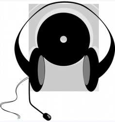 headphone and disc vector image