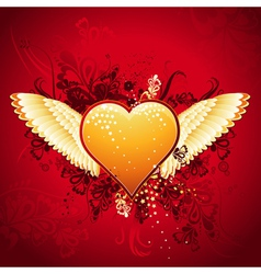 lovely golden heart on red background with wings vector image