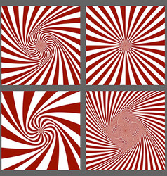 Maroon and white spiral and burst background set vector