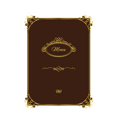 vintage menu template with gold elements vector image