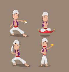 aladdin persian character cartoon set vector image
