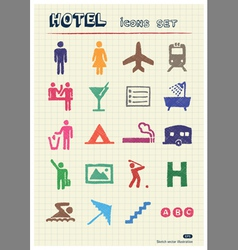 Hotel and service web icons set vector image