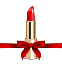 red lipstick with ribbon vector image vector image