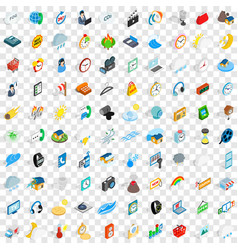 100 time icons set isometric 3d style vector
