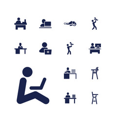 13 sitting icons vector