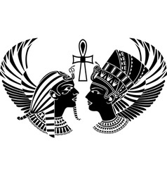 Ancient egypt king and qeen with wings vector