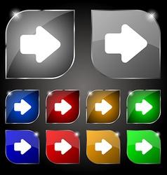 Arrow right Next icon sign Set of ten colorful vector