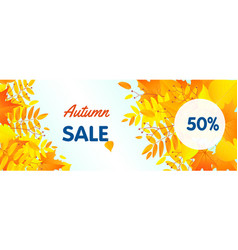 autumn half sale concept banner flat style vector image