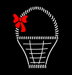basket with bow sign 711 vector image