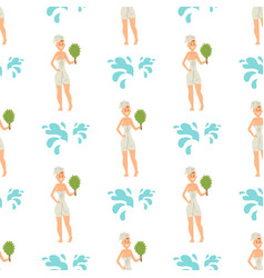 bath people body washing face seamless pattern vector image