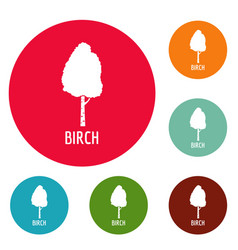 birch tree icons circle set vector image