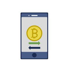 Bitcoin inside smartphone design vector