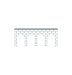 Brick arch bridge icon flat style vector