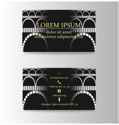 Business card with vintage arches vector