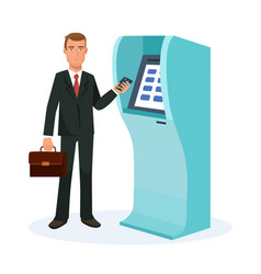 businessman stands next to terminal for cash vector image
