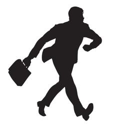 Businessman walks black silhouette figure vector