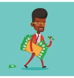 Businessman with briefcase full of money vector