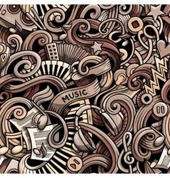 Cartoon hand drawn doodles music seamless pattern vector