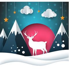 cartoon paper landscape deer merry vector image