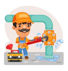 cartoon plumber repairing a pipe vector image
