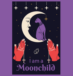 Cat on the moon praying hands holding a rosary i vector