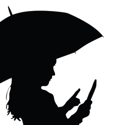 child with umbrella silhouette vector image