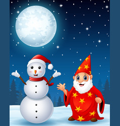 christmas snowman with red old wizard in the winte vector image