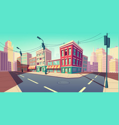 city road turn empty street with transport highway vector image