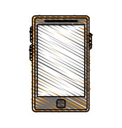 Color crayon stripe tablet tech device icon vector