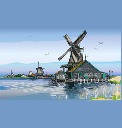 colored of watermill in amsterdam vector image