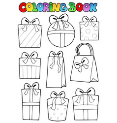coloring book various gifts vector image