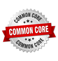 common core round isolated silver badge vector image