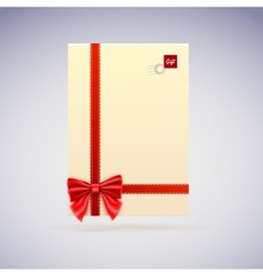 Congratulatory letter envelope with scarlet ribbon vector