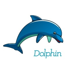 Cute cartoon dolphin character vector