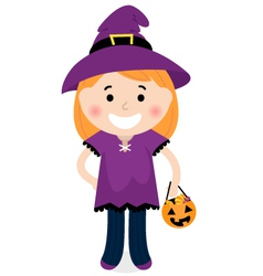 Cute halloween witch vector